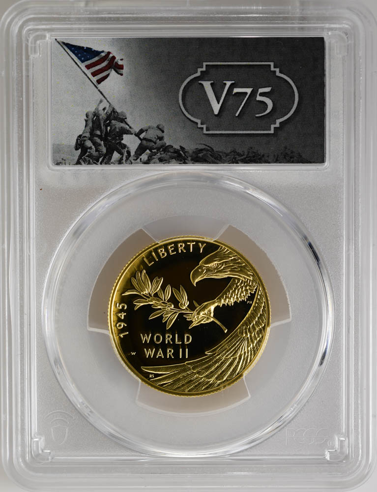 2020-W $25 v75 End of WWII, 75th Anniversary Modern Gold Commemorative, PCGS PR69DCAM