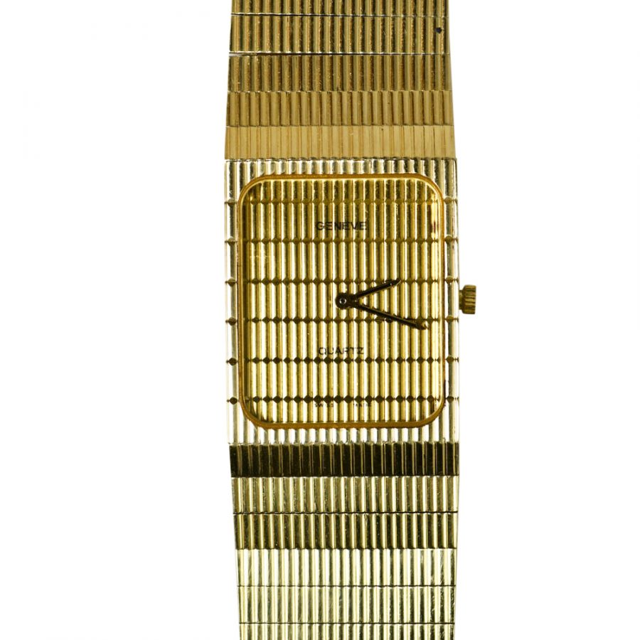 14K Yellow Gold Mens Geneve Wristwatch, Quartz-61.4g