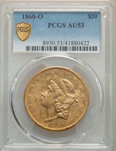 1860-O $20 Liberty Head Type 1 No Motto PCGS AU53