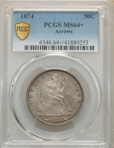 1874 50C Liberty Seated Half Dollar - Type 6 With Motto Arrows at Date PCGS MS64+