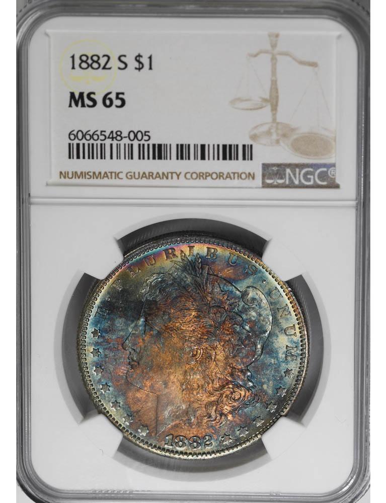 1882-S $1 NGC MS65 Morgan Dollar Superb Color Rainbow BLUE!
