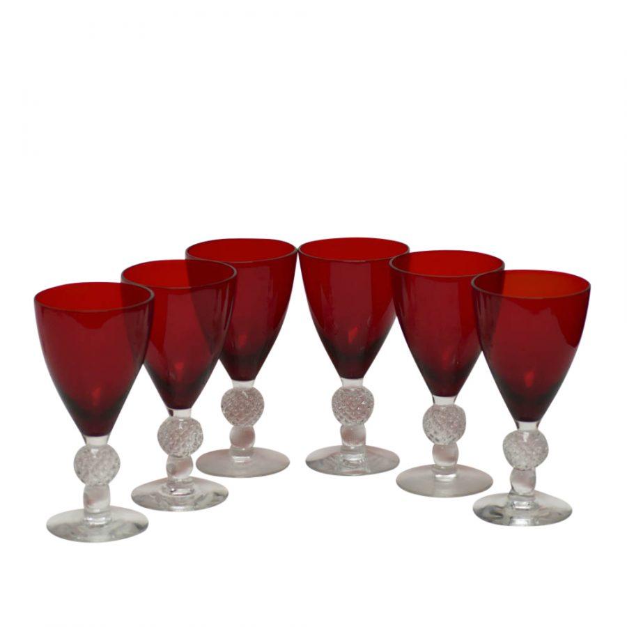 "Set of 6 Morgantown Golf Ball Ruby Water Goblet 6 3/4"" 9oz"