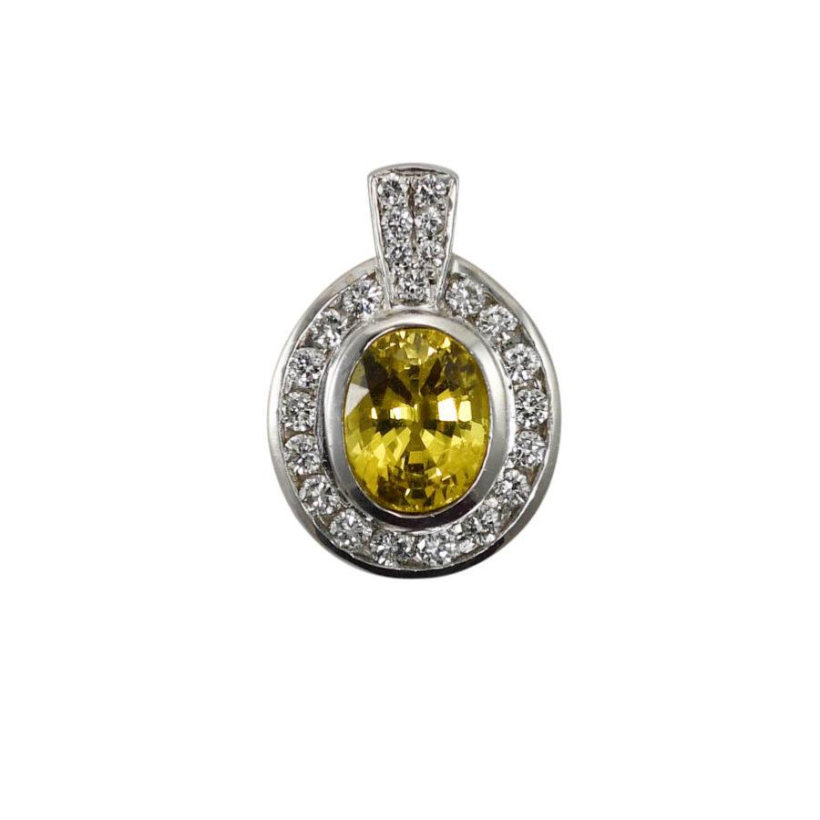 18K White Gold Yellow Sapphire & Diamond Pendant, 6.9g