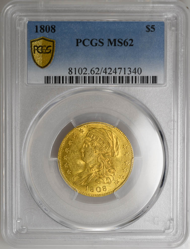 1808 $5 Capped Bust PCGS MS62 CHOICE Premium Coin