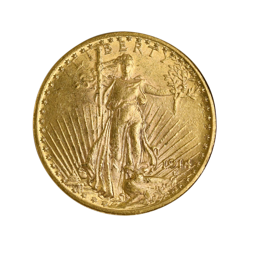 1914 $20 Gold St. Gaudens CHOICE NEARLY MINT STATE VERY SCARCE DATE Gold Coin