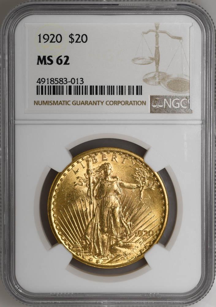 1920 $20 St. Gaudens MS62 NGC, SCARCE DATE, RARE