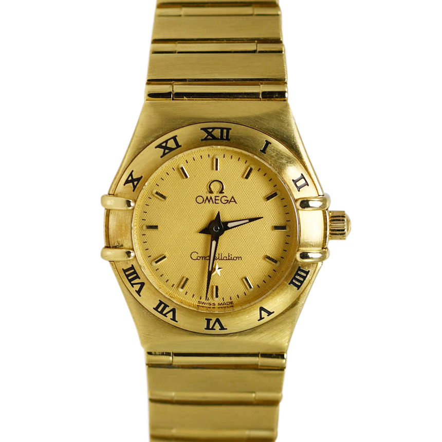 18K Yellow Gold Ladies Omega Quartz Watch, 65.3g