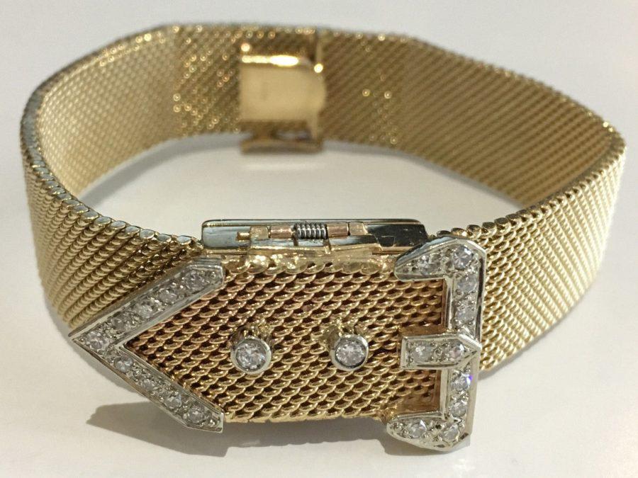 14k White Gold Vintage Ladies Diamond Wristwatch Swiss Circa 1950