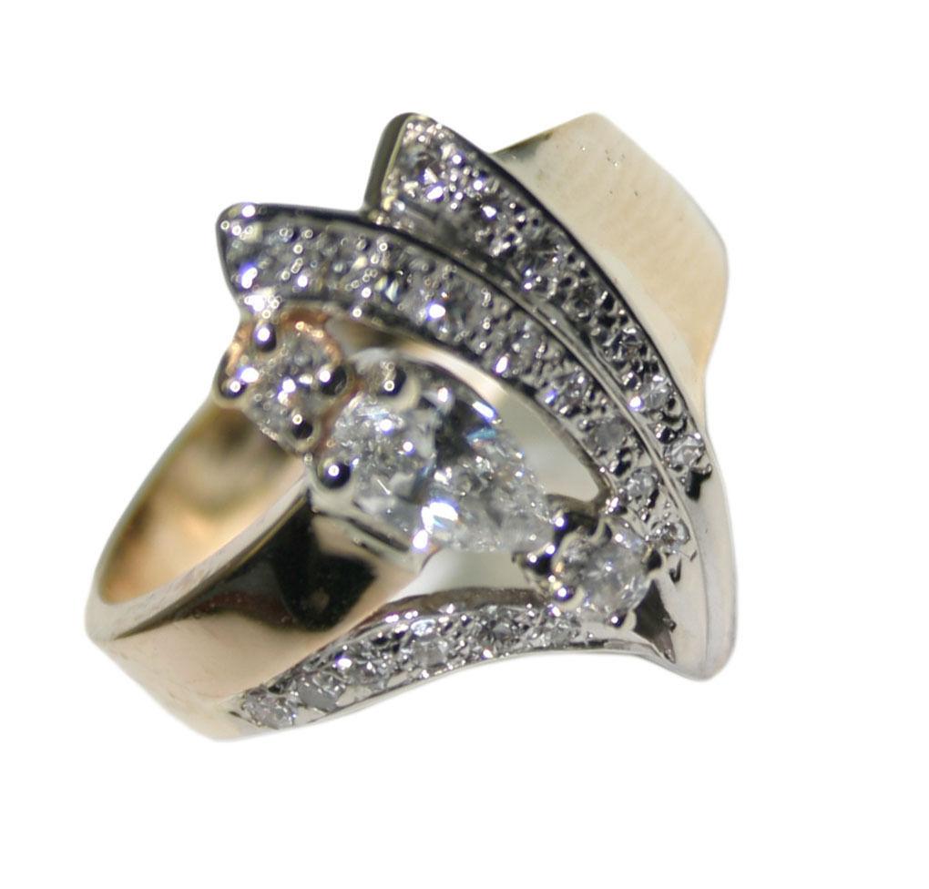 14k Yellow Gold 0.73ct Diamond Women's Cluster Ring Size 9