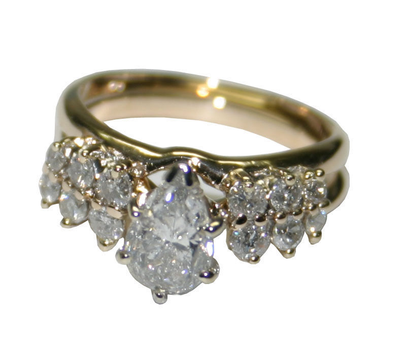 14k Yellow Gold 1 41ct Diamond Women S Engagement And Wedding Ring Set Size 6 Tangible Investments