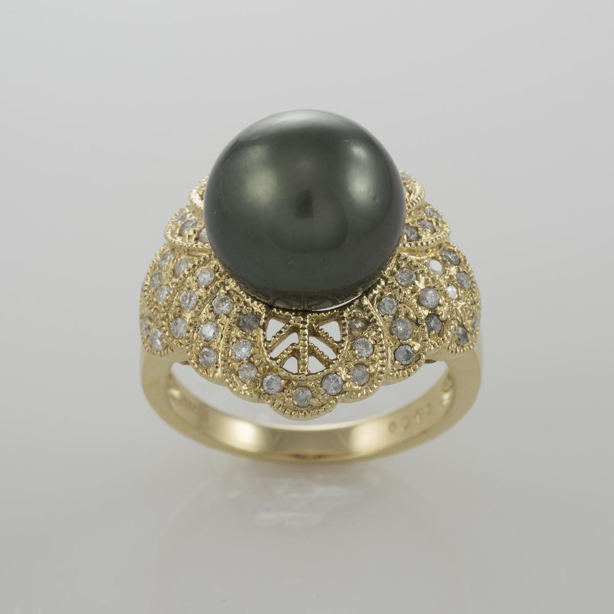 diamants Tahitian Pearl Ring 14k solide or jaune.