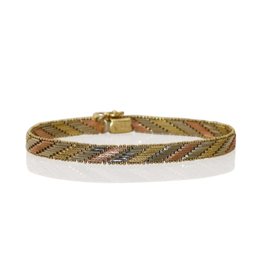 14K Yellow Gold 3-tone Bracelet,15g