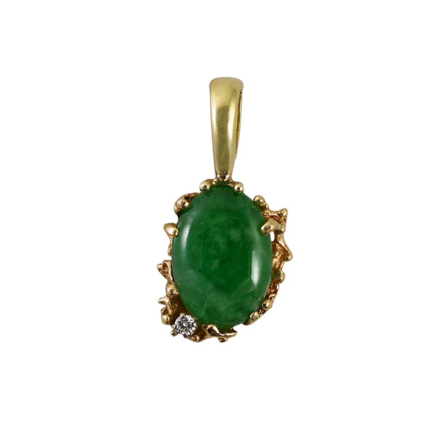 14K Yellow Gold Jade Pendant & Diamond, 6.3g