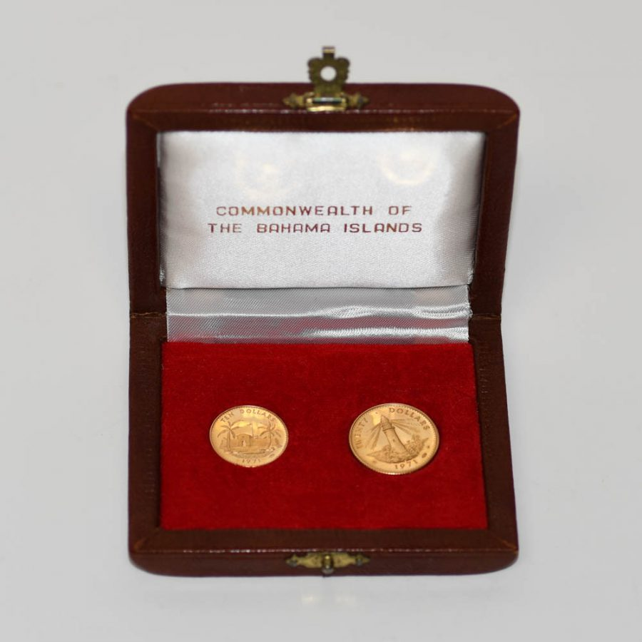 1971 Elizabeth II Bahama Gold $20 & $10, RARE Coin Set