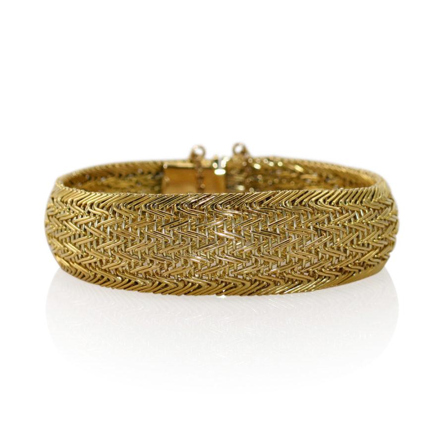 18K Yellow Gold Woven Link Bracelet, 52.4g