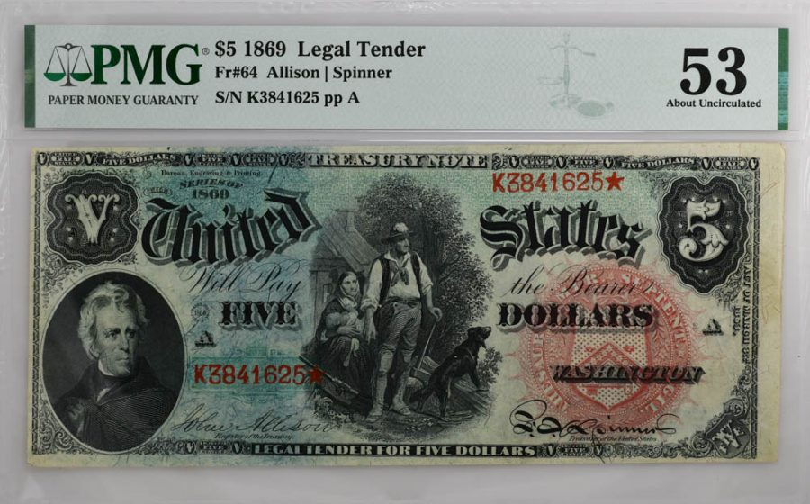 1869 $5 Legal Tender Fr#64 PMG AU 53