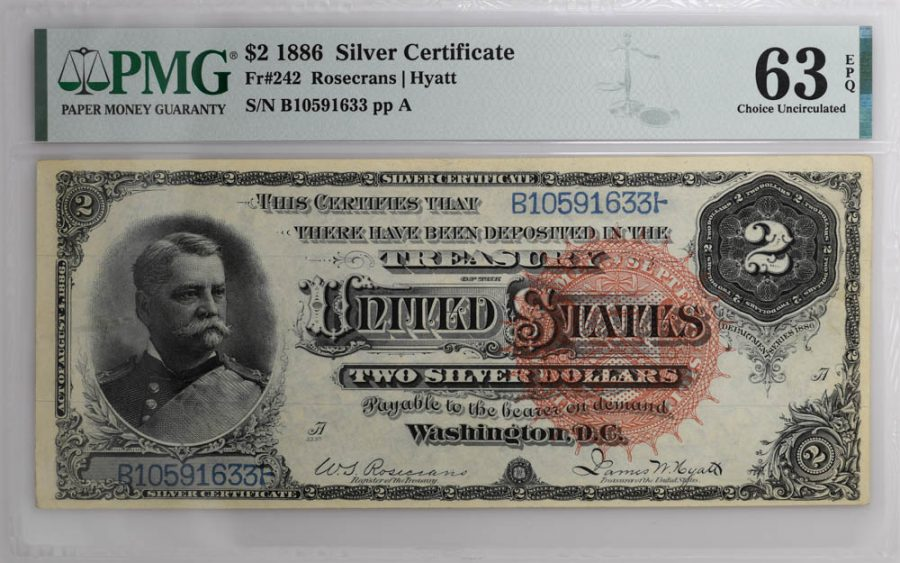 1886 $2 Silver Certificate Fr#242 PMG Choice Uncirculated 63 EPQ