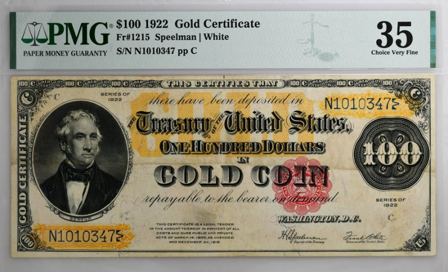 1922 $100 Gold Certificate Fr#1215 PMG CHOICE VF 35