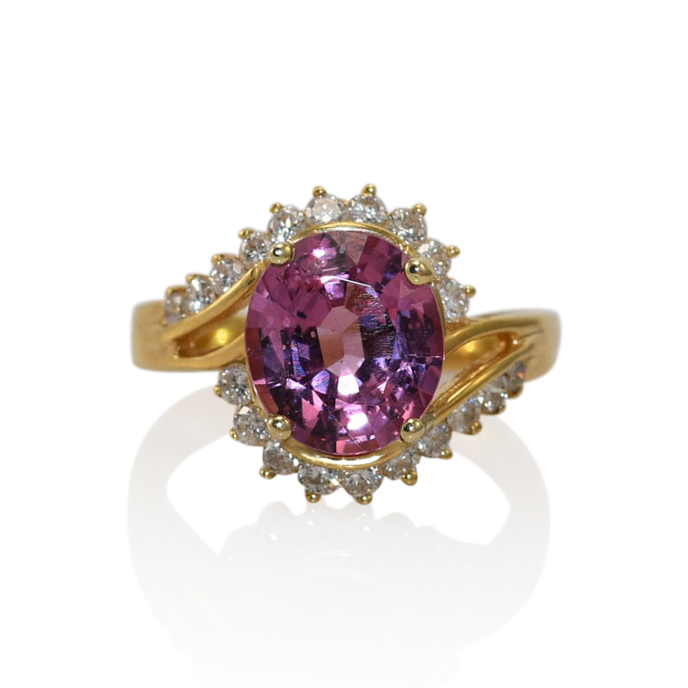 18K Yellow Spinel Pink Spinel & Diamond Ring, 5.7g
