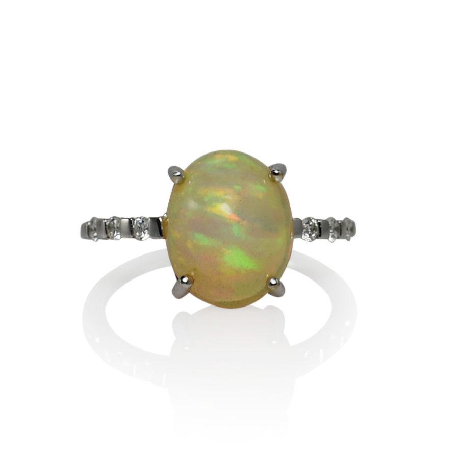 18K White Gold Opal & Diamond Ring, 2.7g