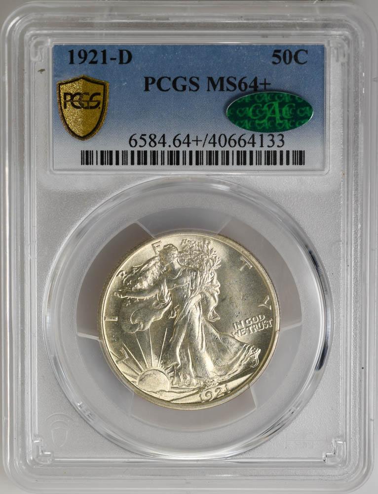 1921-D 50C Walking Liberty Half Dollar MS64+ PCGS CAC BLAZING
