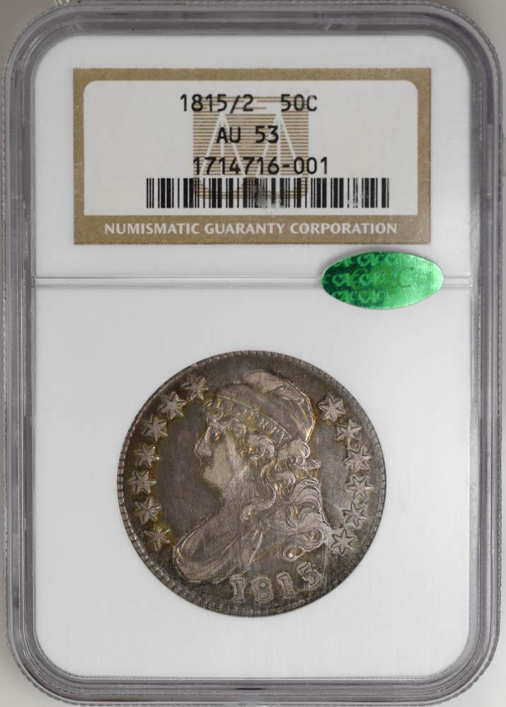 1815/2 50C Capped Bust Half Dollar NGC AU53 CAC Rare POP 9/10 at CAC