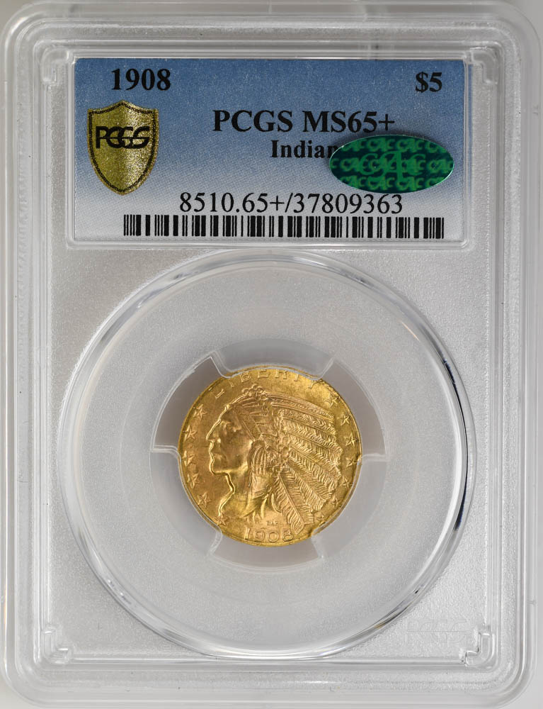 1908 $5 Indian PCGS MS65+ CAC