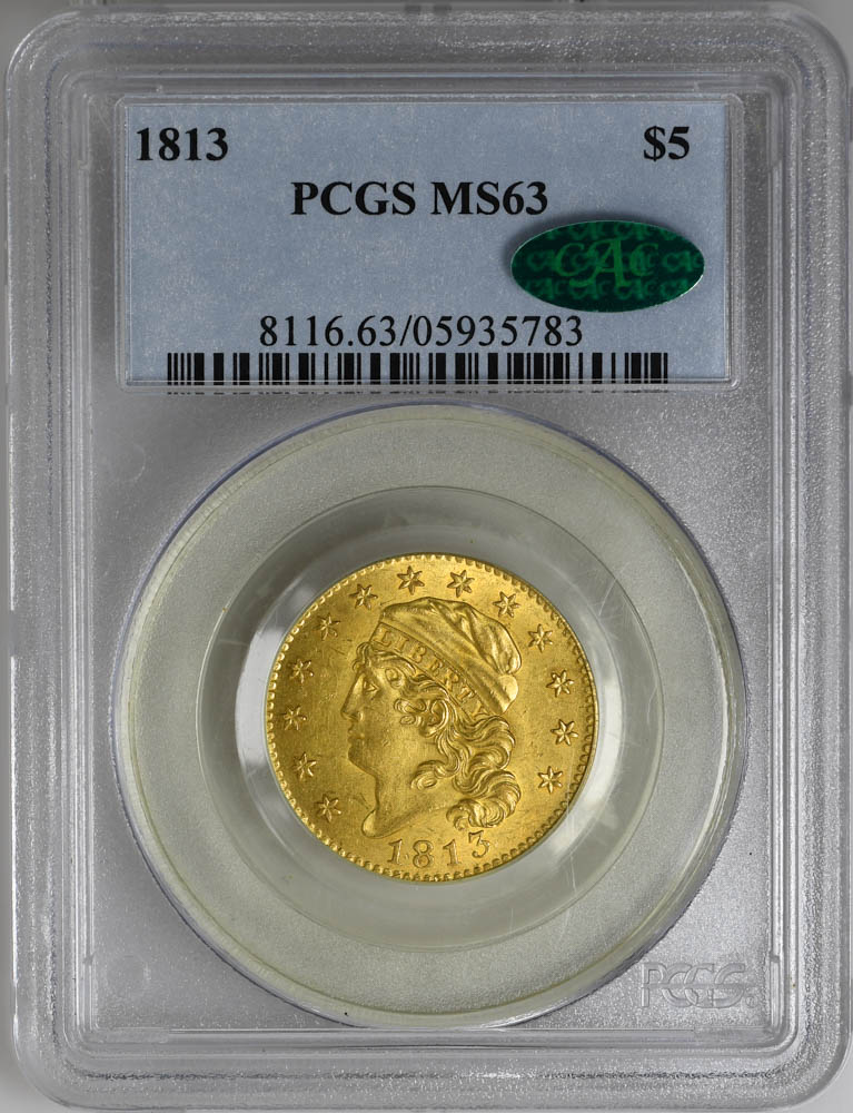 1813 $5 Capped Bust Gold Coin PCGS MS63 & CAC