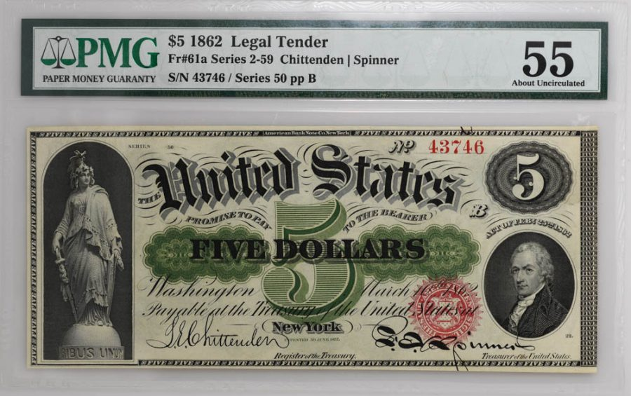 1862 $5 Legal Tender Fr#61a Series 2-59 PMG About Circulated 55