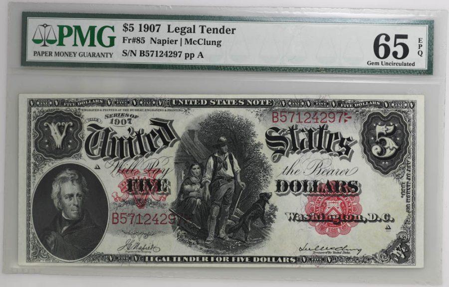 1907 $5 Legal Tender Fr#85 GEM UNCIRCULATED 65 EPQ