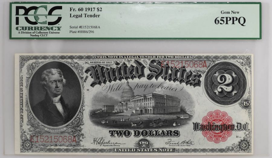 1917 $2 Legal Tender Fr#60 PCGS Currency GEM NEW 65PPQ Banknote