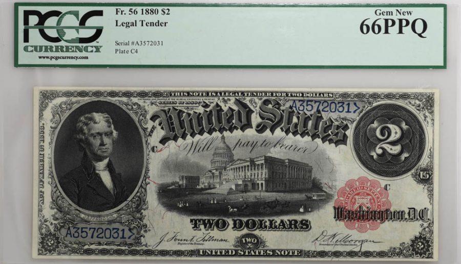 1880 $2 Legal Tender Fr#56 PCGS GEM NEW 66PPQ