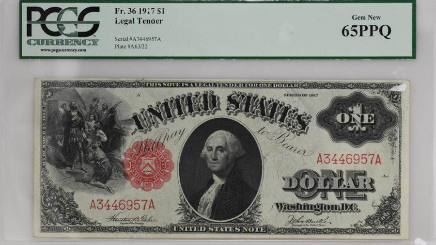 1917 $1 Legal Tender Fr#36 PCGS Currency GEM NEW 65PPQ