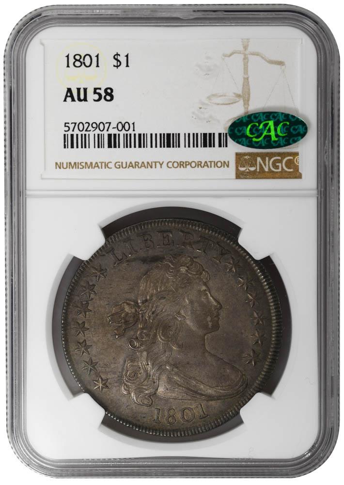 1801 $1 Draped Bust Dollar NGC AU58 CAC