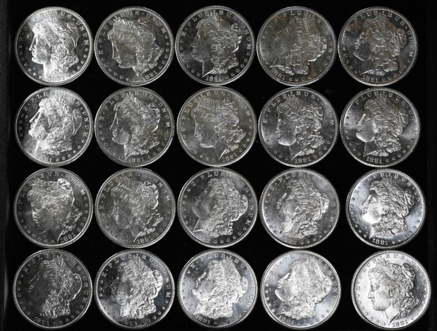 Roll of 20- 1881-S $1, PL Morgan Dollar Silver Coins