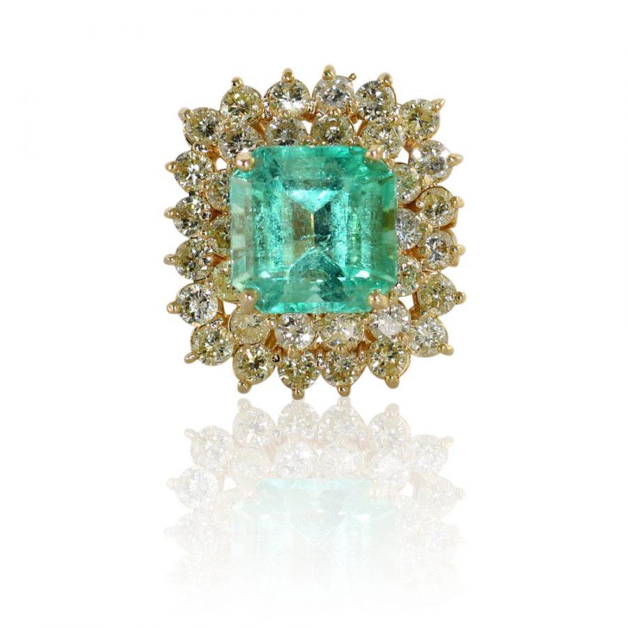 14K Yellow Gold Emerald Diamond Ring, 7ct Emerald, 2.50TDW, 12g