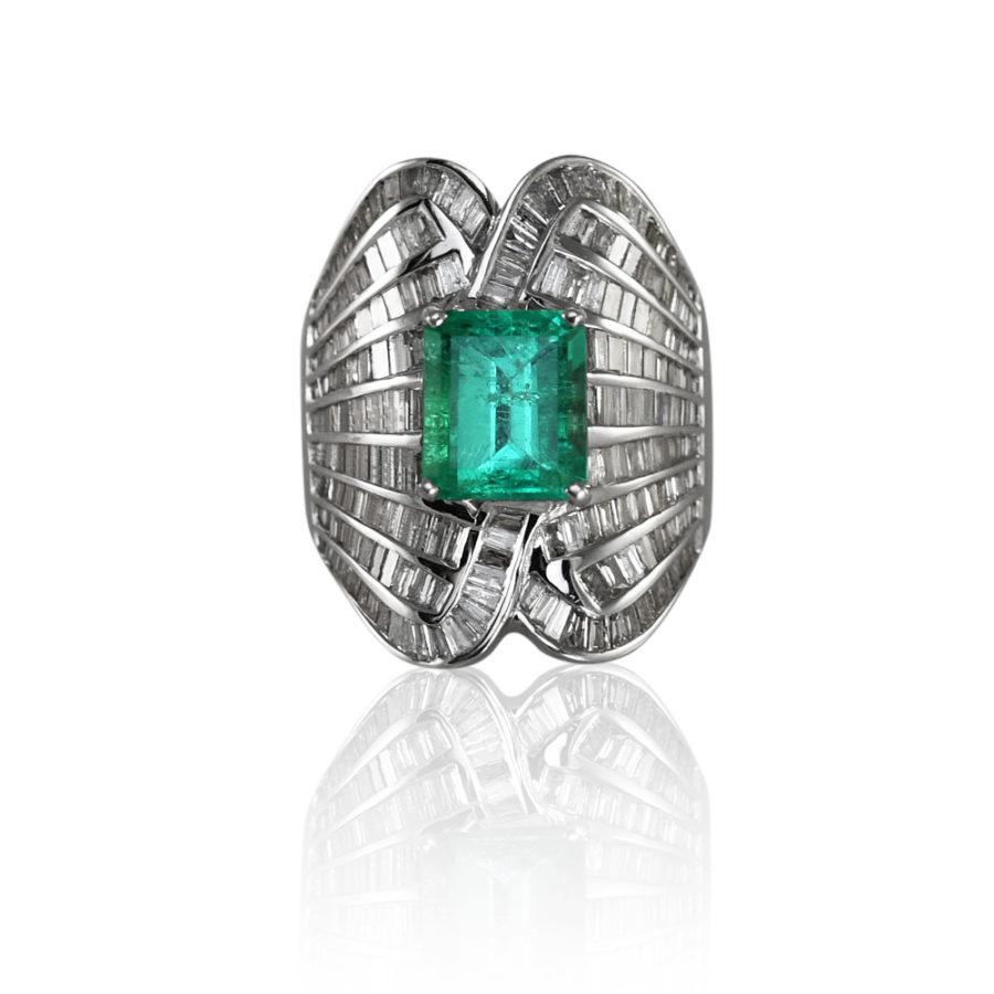 18K White Gold Emerald & Diamond 3.15ct, 2.28TDW 12.1gr