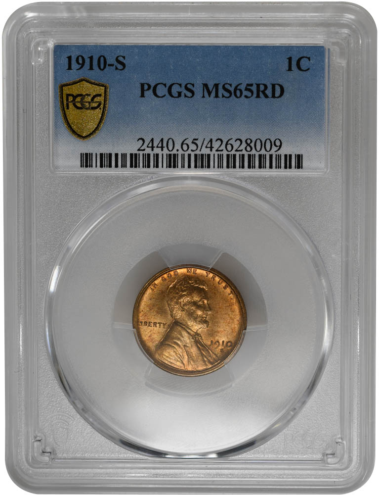 1910-S 1C, RD Lincoln Cent PCGS MS64RD, Blazing PQ RED COIN