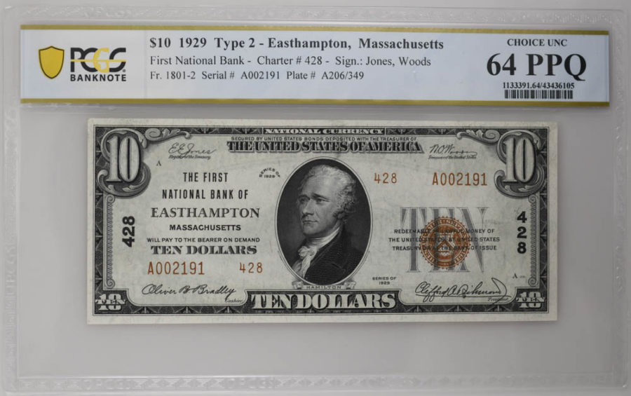 1929 $10 Type 2 East Hampton, Massachusetts PCGS CHOICE UNC 64 PPQ