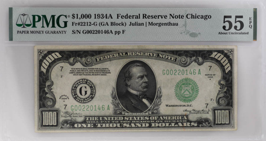 1934A $1000 Federal Reserve Note Chicago, Fr#2212-G, PMG 55 EPQ, About Uncirculated