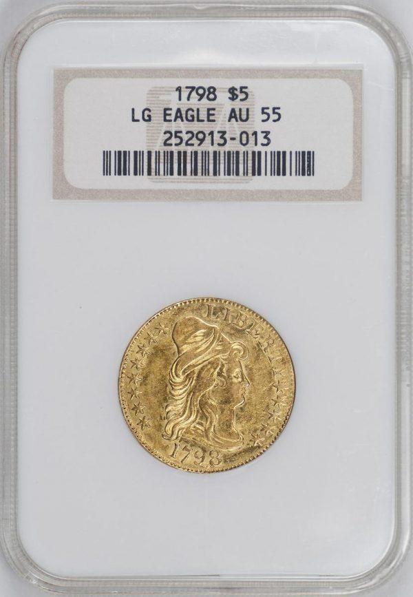 1798 $5 Large 8 13 Star Reverse Gold Draped Bust NGC AU55
