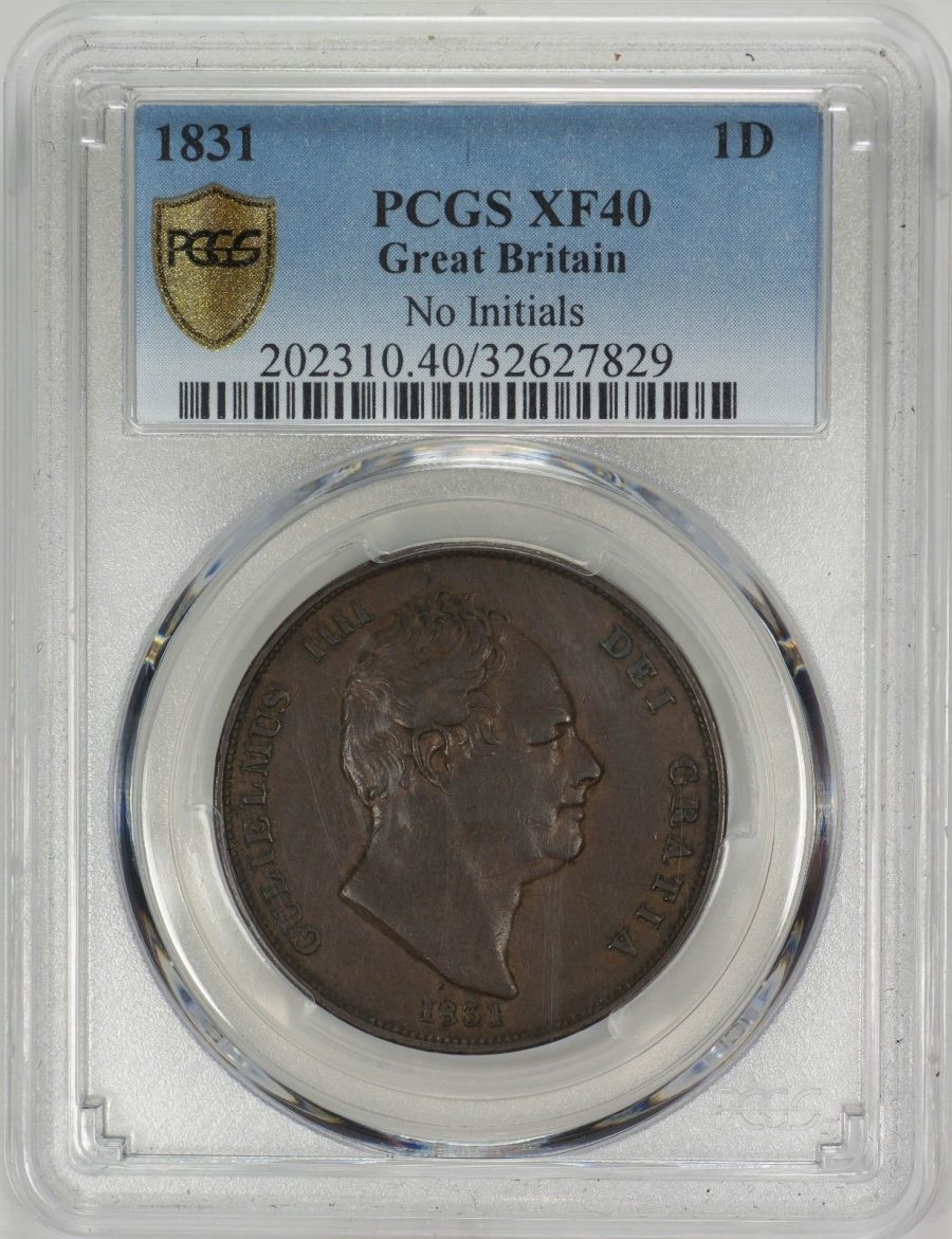 1831 1D Great Britain, No Initials – PCGS XF40 Secure Plus Holder