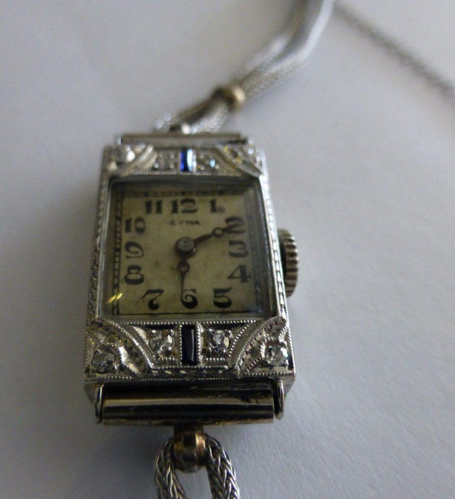 18k White Gold Ladies Vintage Cyma Wristwatch w/ Diamonds and Sapphires