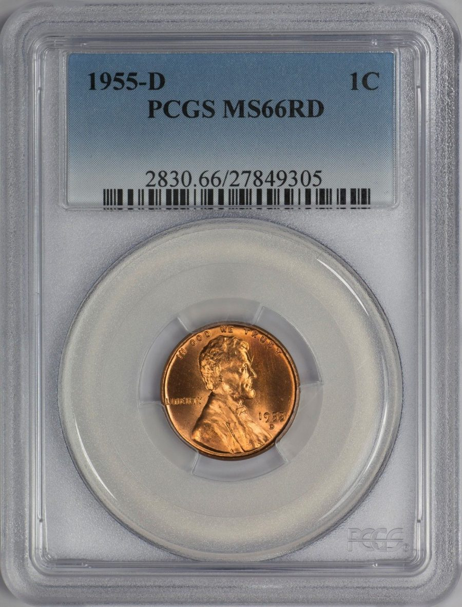 1955-D 1C RD Lincoln Cent – Type 1 Wheat Reverse – PCGS MS66RD