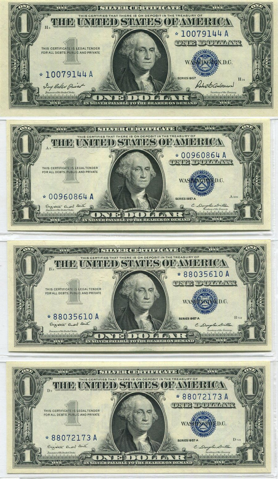 (3) 1957  & (1) 1957A $1 Silver Certifcate Star Banknotes Choice – Gem Uncirculated
