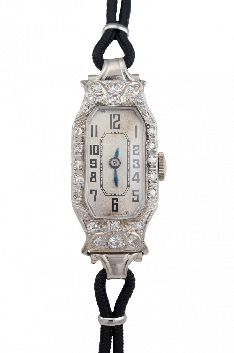 Ladies vintage hamilton wristwatch in platinum with diamonds