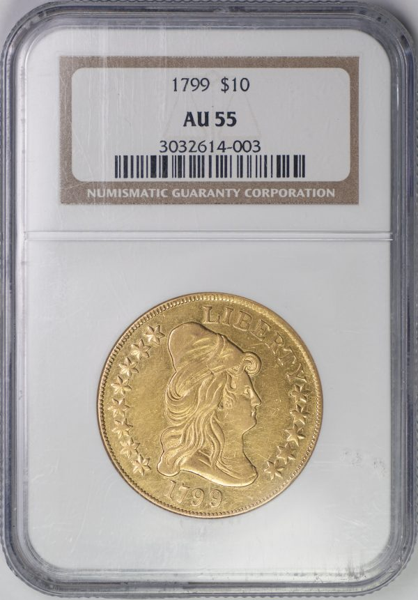 1799 $10 Drapped Bust – Type 2 Heraldic Eagle – NGC AU55 – US Rare Coin