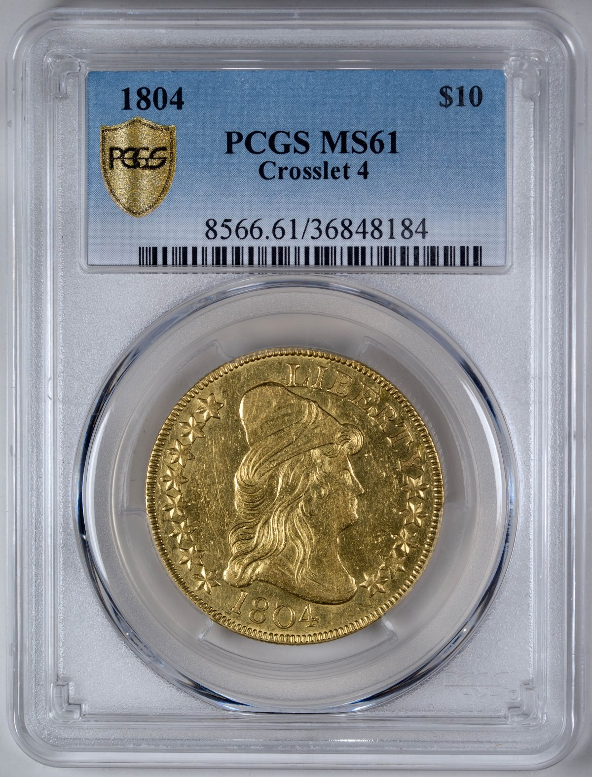 1804 $10 Crosslet 4 – PCGS MS61 Certified US Rare Coin