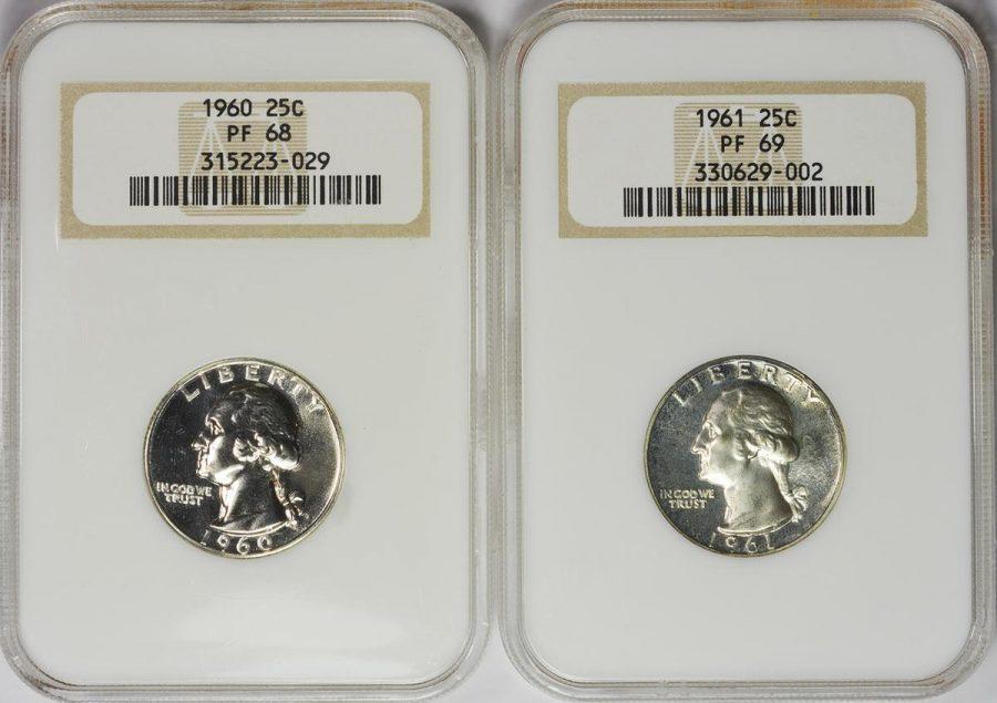 Set of Two 1960 and 1961 Proof 25C Washington Quarters. NGC PF68 and PF69.
