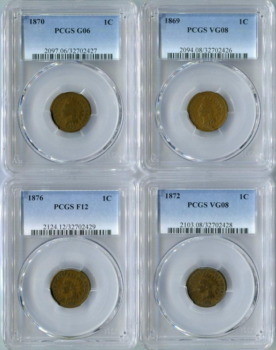 Collection of 4 Scarce PCGS Certified Early 1C Indian Head Cents